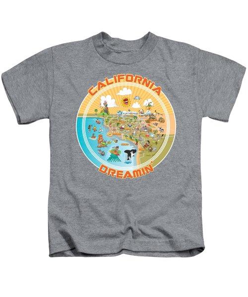 Sunny So Cal Cartoon Map Kids T-Shirt