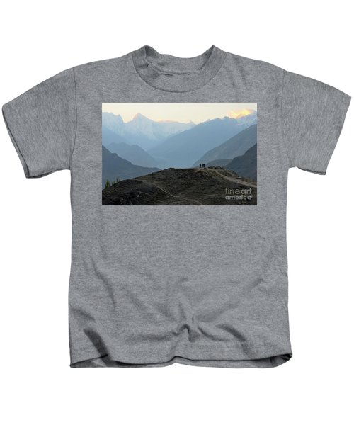 Sunrise Among The Karakoram Mountains In Hunza Valley Pakistan Kids T-Shirt