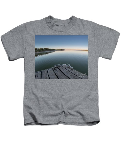 Sunrise On A Clear Morning Over Large Lake With Fog On Top, From Kids T-Shirt