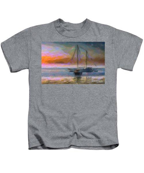 Sunrise With Boats Kids T-Shirt