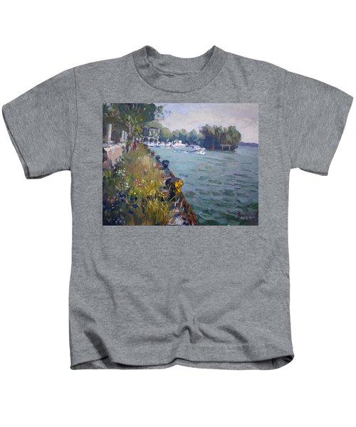 Sunset At An Abandoned Dock Kids T-Shirt