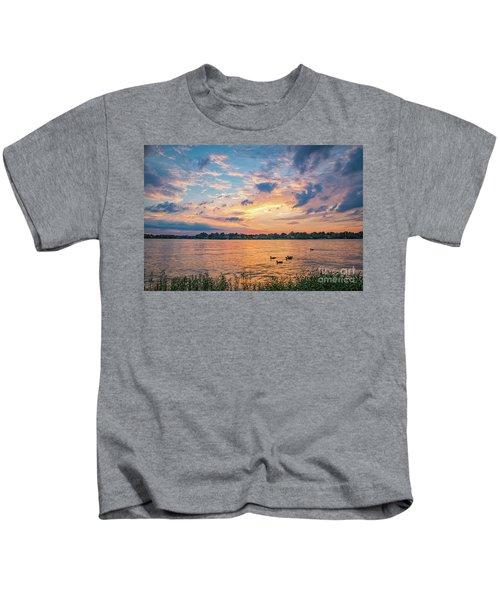 Sunset At Morse Lake Kids T-Shirt