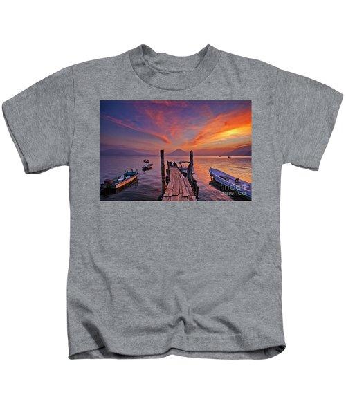 Sunset At The Panajachel Pier On Lake Atitlan, Guatemala Kids T-Shirt