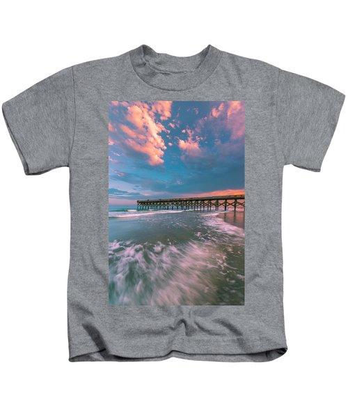 Sunset At Wilmington Crystal Pier In North Carolina Kids T-Shirt