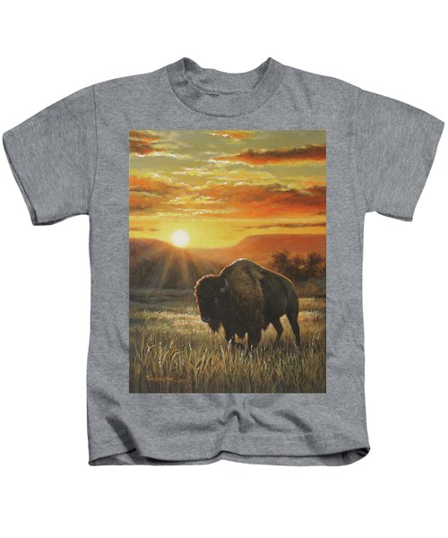 Sunset In Bison Country Kids T-Shirt