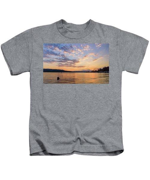 Sunset In Lake Sammamish Kids T-Shirt