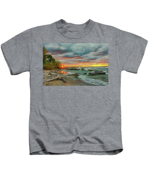 Sunset In Rocky River, Ohio Kids T-Shirt