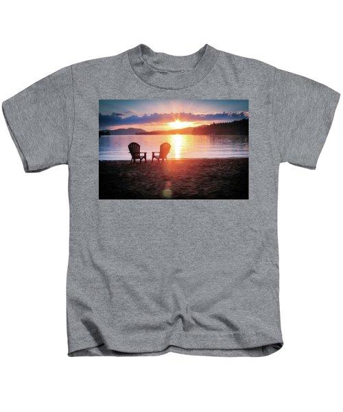 Sunset On Fourth Lake Kids T-Shirt