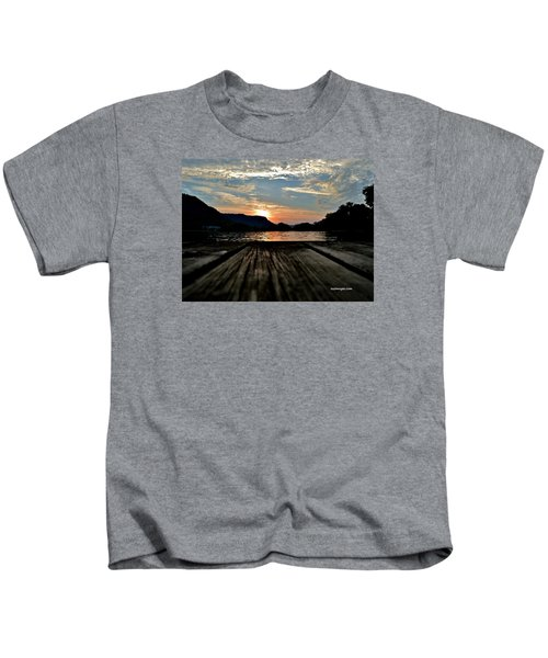 Sunset On The Dock Kids T-Shirt