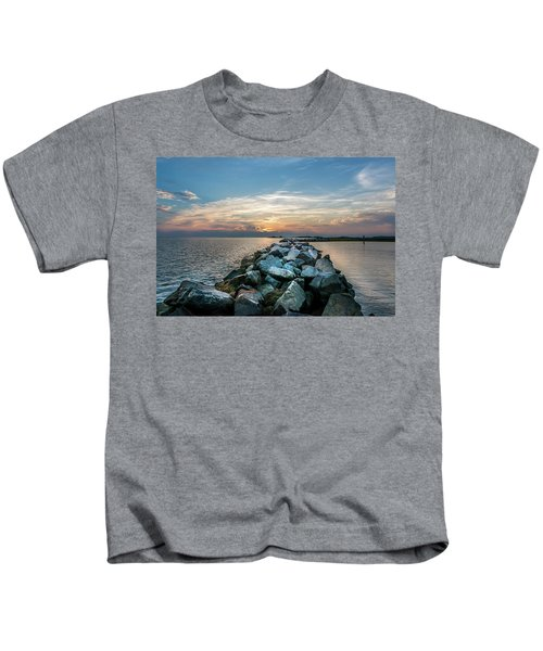 Sunset Over A Rock Jetty On The Chesapeake Bay Kids T-Shirt