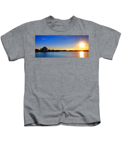 Sunset Over The Jefferson Memorial  Kids T-Shirt