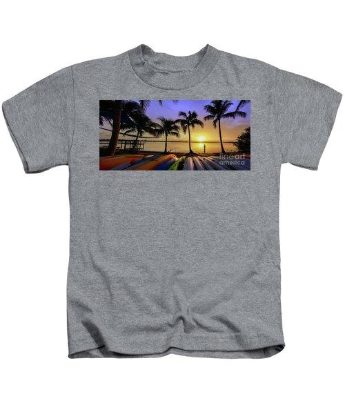 Sunset Over The Kayaks Kids T-Shirt