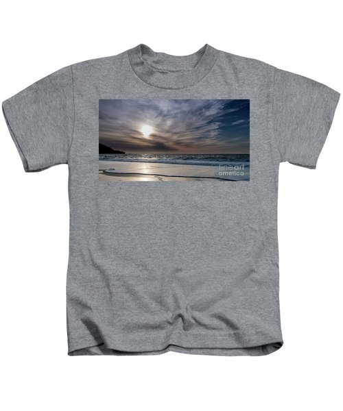 Sunset Over West Coast Beach With Silk Clouds In The Sky Kids T-Shirt