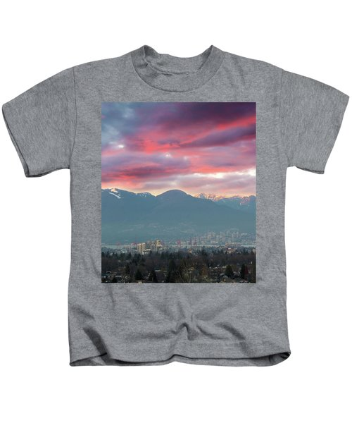 Sunset Sky Over Port Of Vancouver Bc Kids T-Shirt