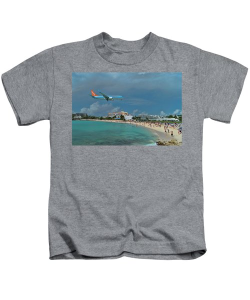 Sunwing Airline At Sxm Airport Kids T-Shirt
