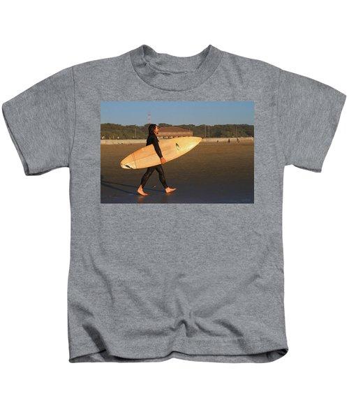 Surfer At Ocean Beach Kids T-Shirt
