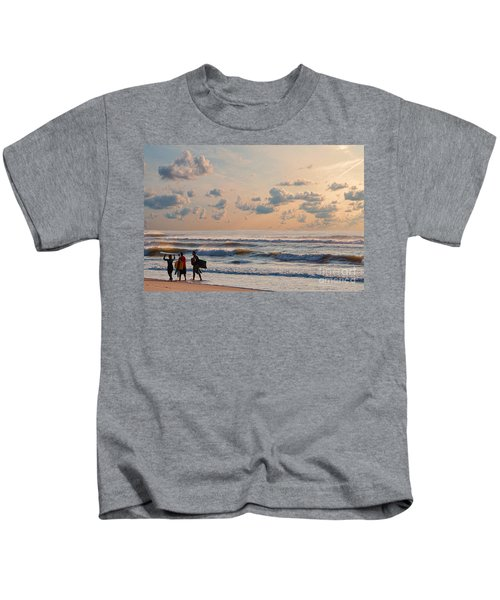Surfing At Sunrise On The Jersey Shore Kids T-Shirt