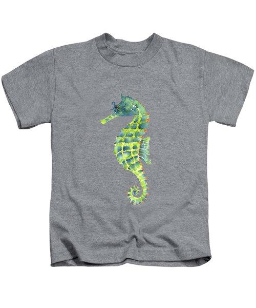 Teal Green Seahorse Kids T-Shirt