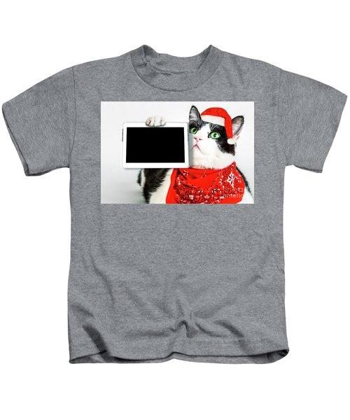 Technology Christmas Cat Kids T-Shirt