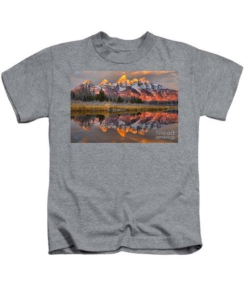 Teton Mountains Sunrise Rainbow Kids T-Shirt