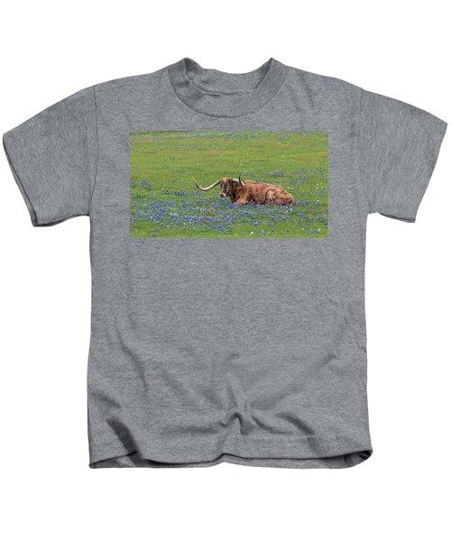 Texas Longhorn And Bluebonnets Kids T-Shirt