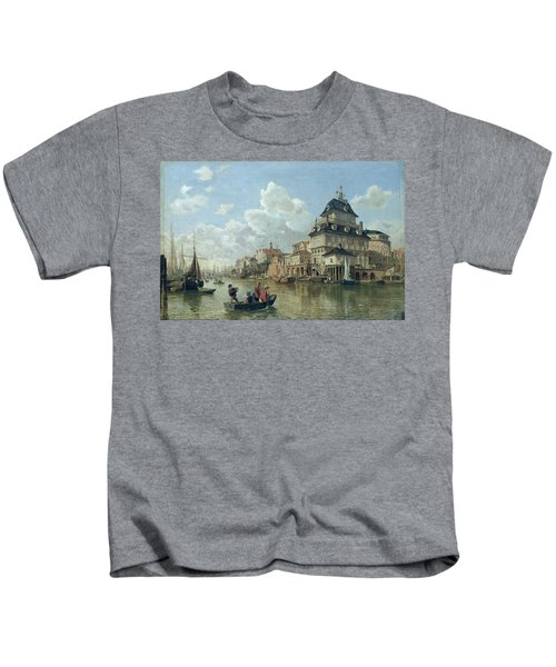 The Boat House At Hamburg Harbour Kids T-Shirt
