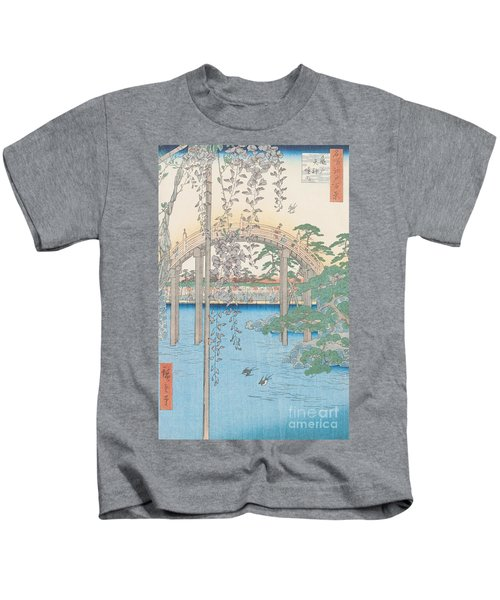 The Bridge With Wisteria Kids T-Shirt by Hiroshige