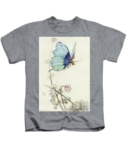The Butterfly Took Wing, And Mounted Into The Air With Little Tom Thumb On His Back Kids T-Shirt