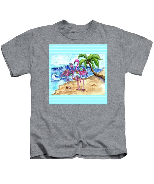 The Flamingo Family's Day At The Beach Kids T-Shirt