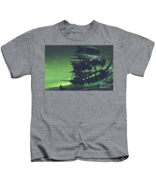Kids T-Shirt featuring the painting The Flying Dutchman by Tithi Luadthong
