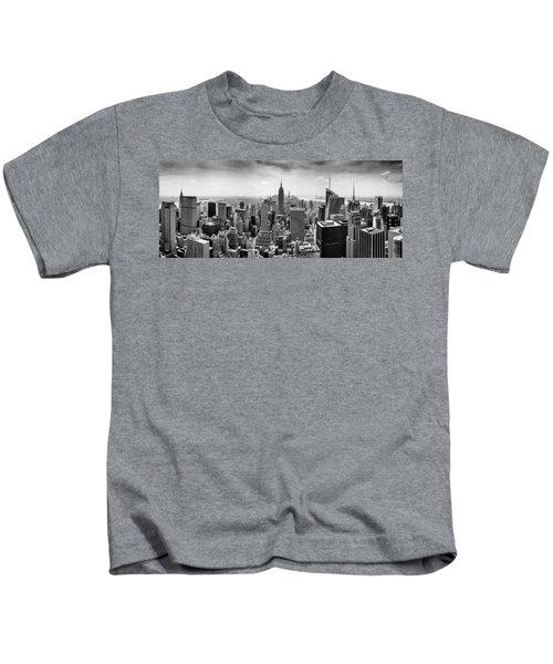 New York City Skyline Bw Kids T-Shirt