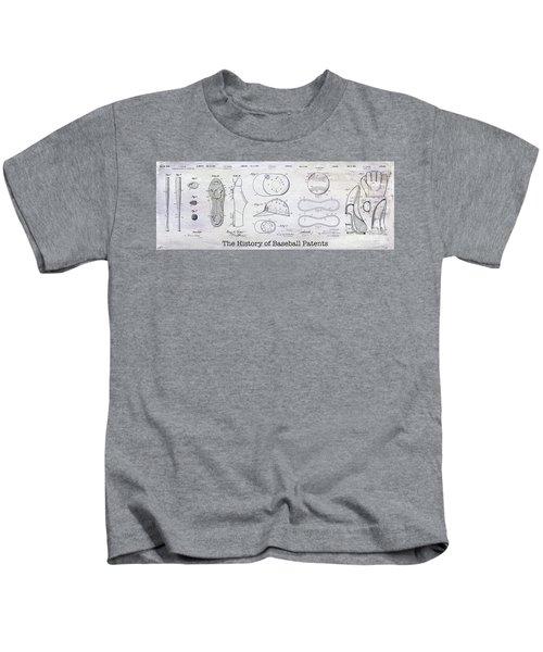 The History Of Baseball Patents Kids T-Shirt by Jon Neidert