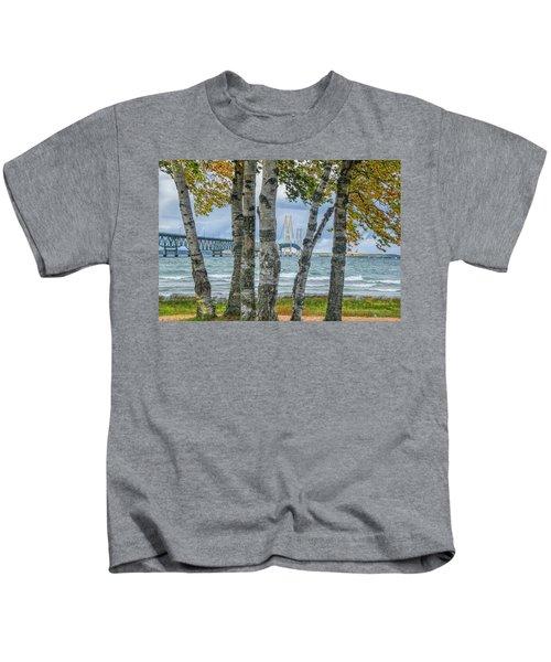 The Mackinaw Bridge By The Straits Of Mackinac In Autumn With Birch Trees Kids T-Shirt