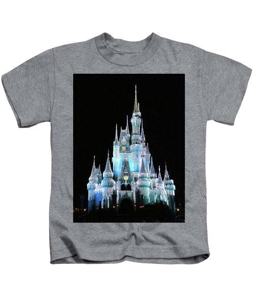 The Magic Kingdom Castle In Frosty Light Blue Walt Disney World Mp Kids T-Shirt