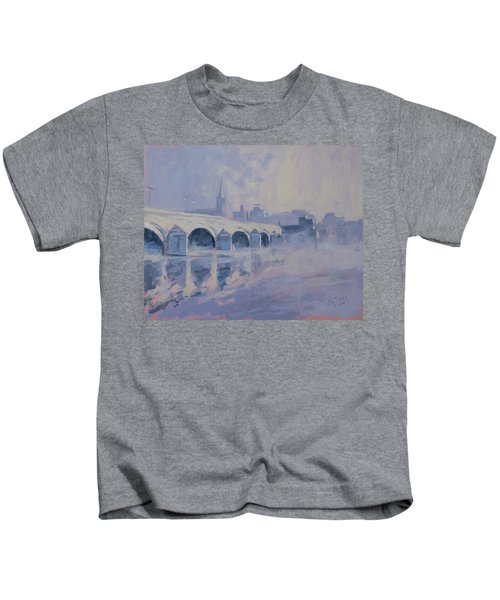 The Old Bridge Of Maastricht In Morning Fog Kids T-Shirt by Nop Briex