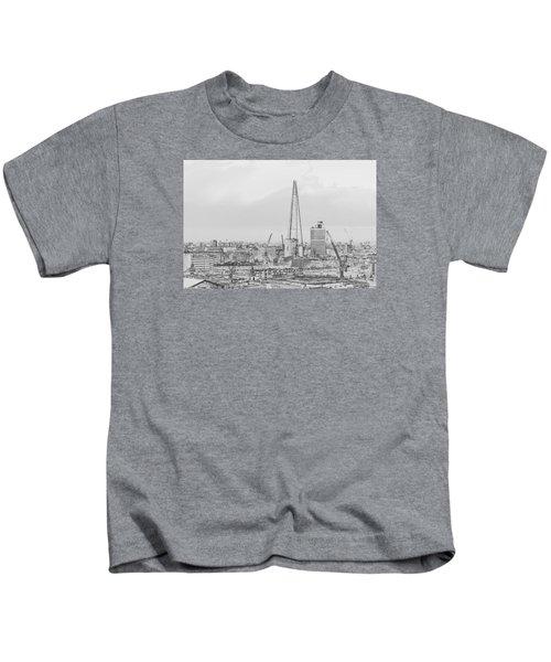 The Shard Outline Poster Bw Kids T-Shirt