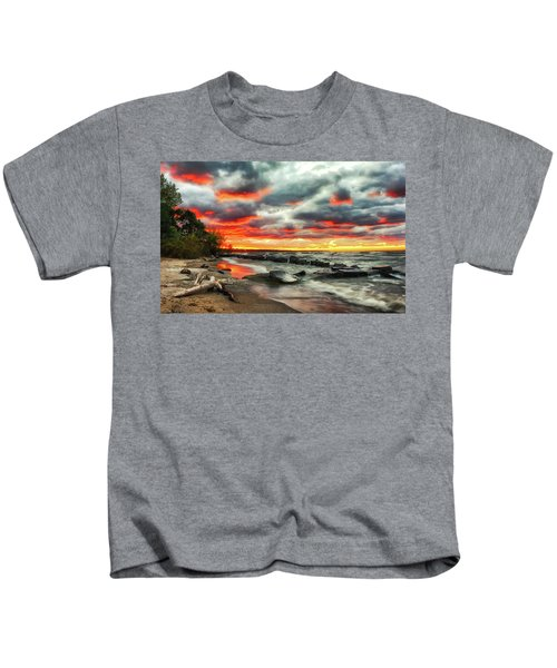 The Sky On Fire At Sunset On Lake Erie Kids T-Shirt