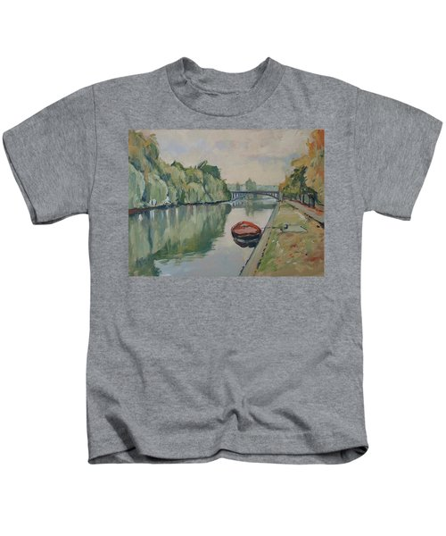 The Small Boat Along The Quai Of Halage Vise Kids T-Shirt