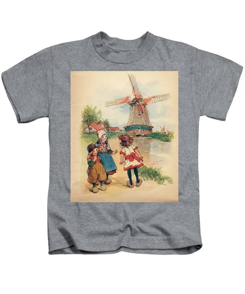 The Windmill And The Little Wooden Shoes Kids T-Shirt