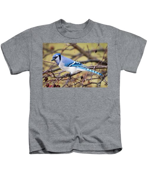The Winter Blue Jay  Kids T-Shirt