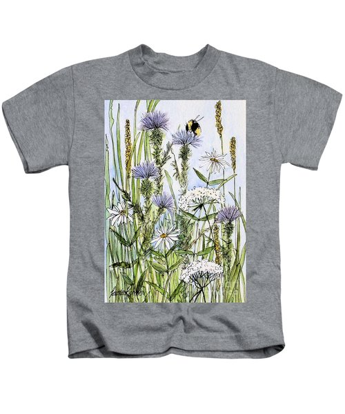 Thistles Daisies And Wildflowers Kids T-Shirt