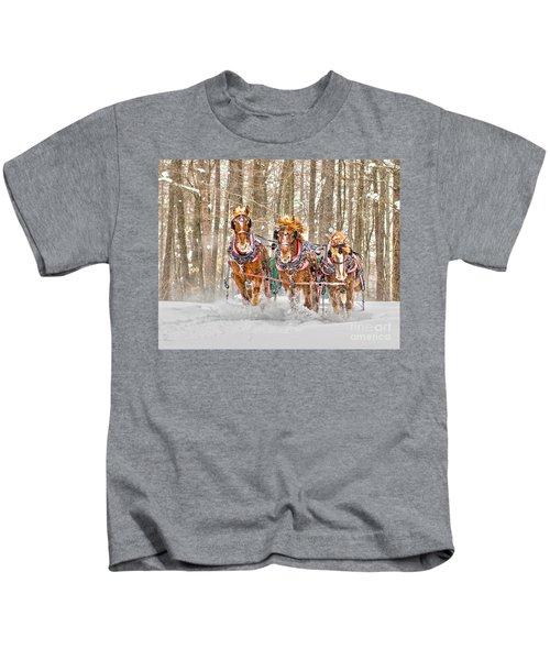 Three Horses Running Kids T-Shirt