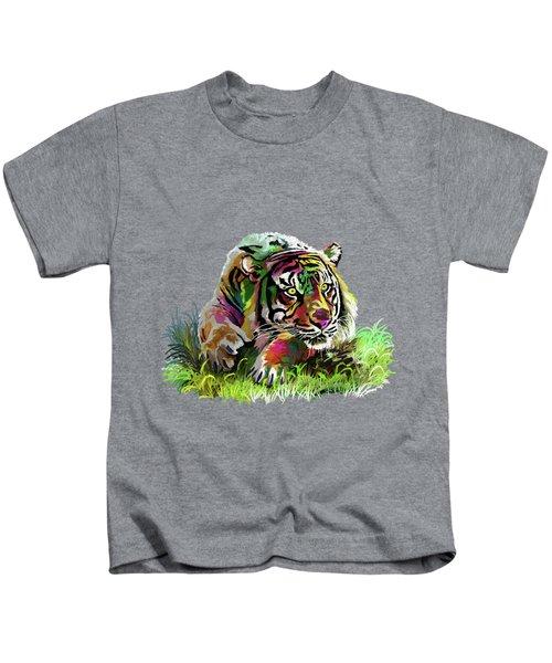 Colorful Tiger Kids T-Shirt by Anthony Mwangi