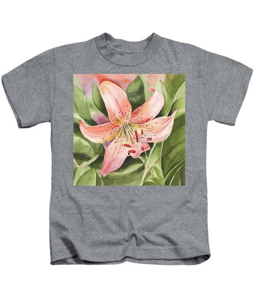Tiger Lily Watercolor By Irina Sztukowski Kids T-Shirt