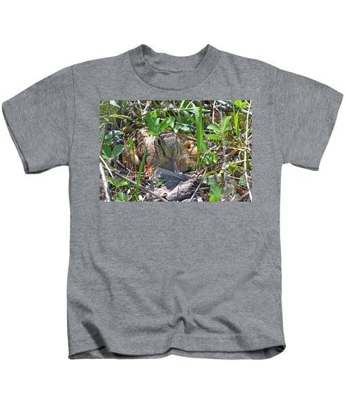 Timberdoodle Hen At Her Nest Kids T-Shirt