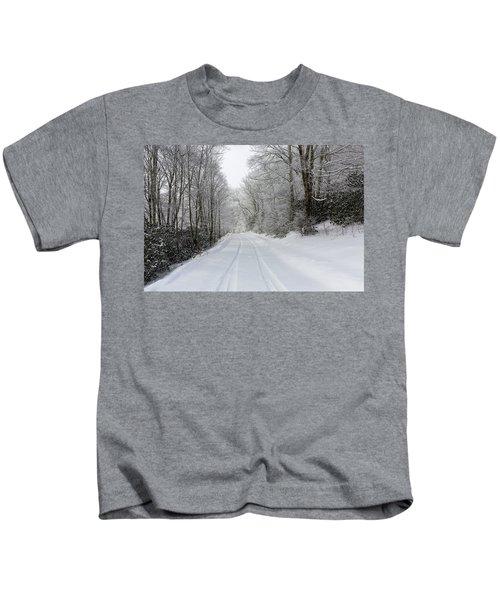 Tire Tracks In Fresh Snow Kids T-Shirt