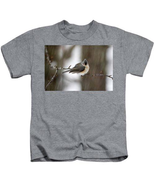Titmouse During Snow Storm Kids T-Shirt