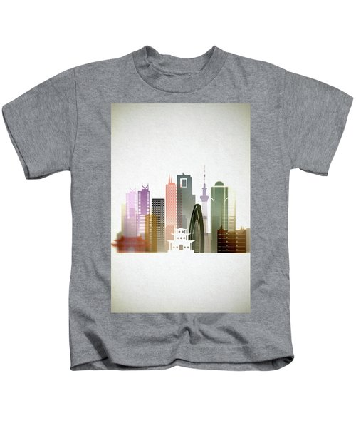 Tokyo  Cityscape Kids T-Shirt by Dim Dom