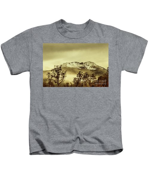 Toned View Of A Snowy Mount Gell, Tasmania Kids T-Shirt