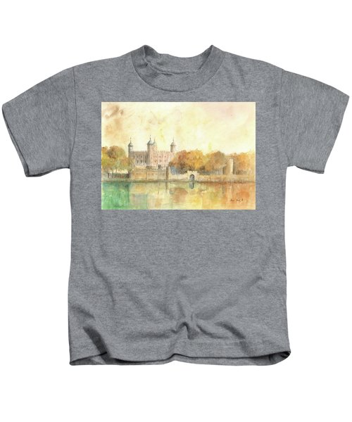 Tower Of London Watercolor Kids T-Shirt by Juan Bosco